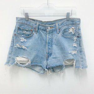 Levis 501 petros vintage distressed cutoff shorts